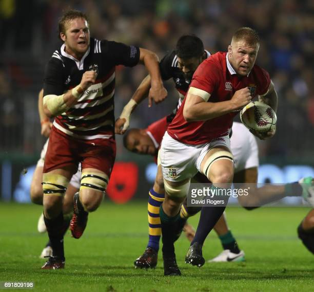 Ross Moriarty of the Lions breaks with the ball during the match between the New Zealand Provincial Barbarians and the British Irish Lions at Toll...