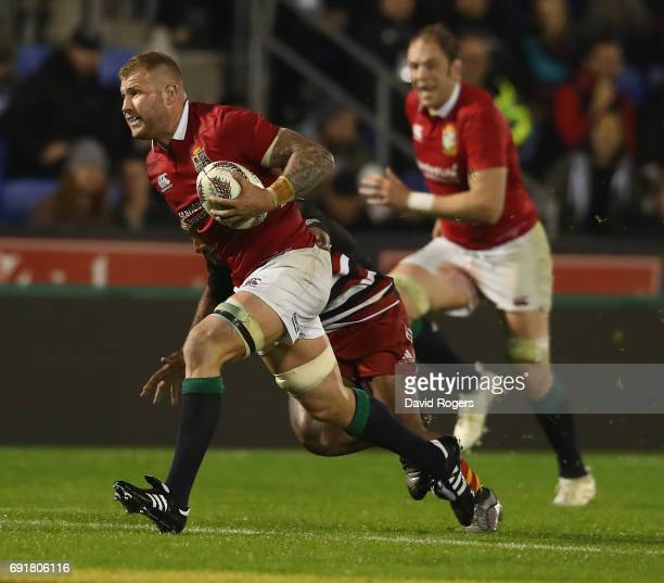 Ross Moriarty of the Lions charges upfield during the match between the New Zealand Provincial Barbarians and the British Irish Lions at Toll Stadium...