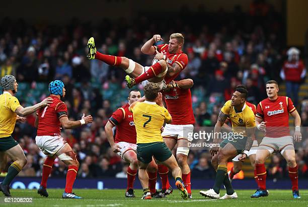 Ross Moriarty of Wales claims a restart during the international match between Wales and Australia at the Principality Stadium on November 5 2016 in...