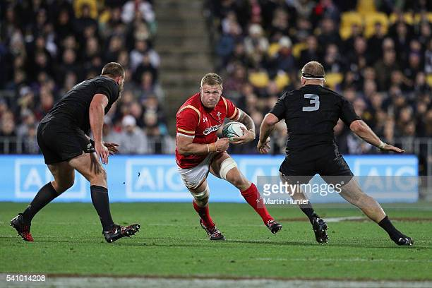 Ross Moriarty of Wales makes a break during the International Test match between the New Zealand All Blacks and Wales at Westpac Stadium on June 18...