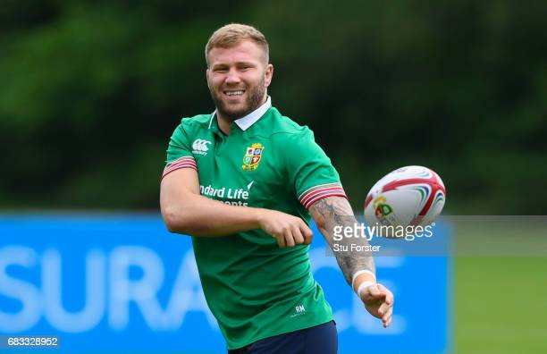 Ross Moriarty passes the ball during a British and Irish Lions training session at Vale of Glamorgan on May 15 2017 in Cardiff Wales