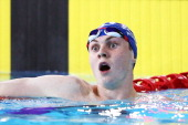 Ross Murdoch of Scotland reacts after winning the gold medal in the Men's 200m Breaststroke Final at Tollcross International Swimming Centre during...