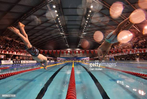 Ross Murdoch of Uni of Stirling and Adam Peaty of Loughboro Uni compete in the Mens Open 100m Breaststroke final on day one of the British Swimming...