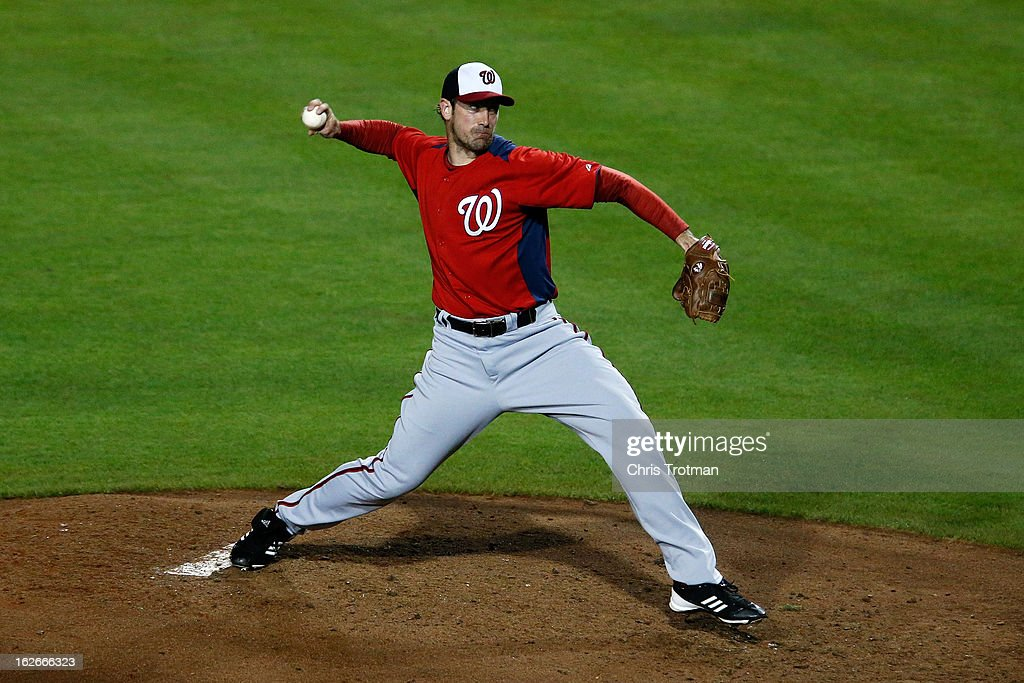 <a gi-track='captionPersonalityLinkClicked' href=/galleries/search?phrase=Ross+Ohlendorf&family=editorial&specificpeople=4172563 ng-click='$event.stopPropagation()'>Ross Ohlendorf</a> #43 of the Washington Nationals pitches against the New York Mets at Tradition Field on February 25, 2013 in Port St. Lucie, Florida.