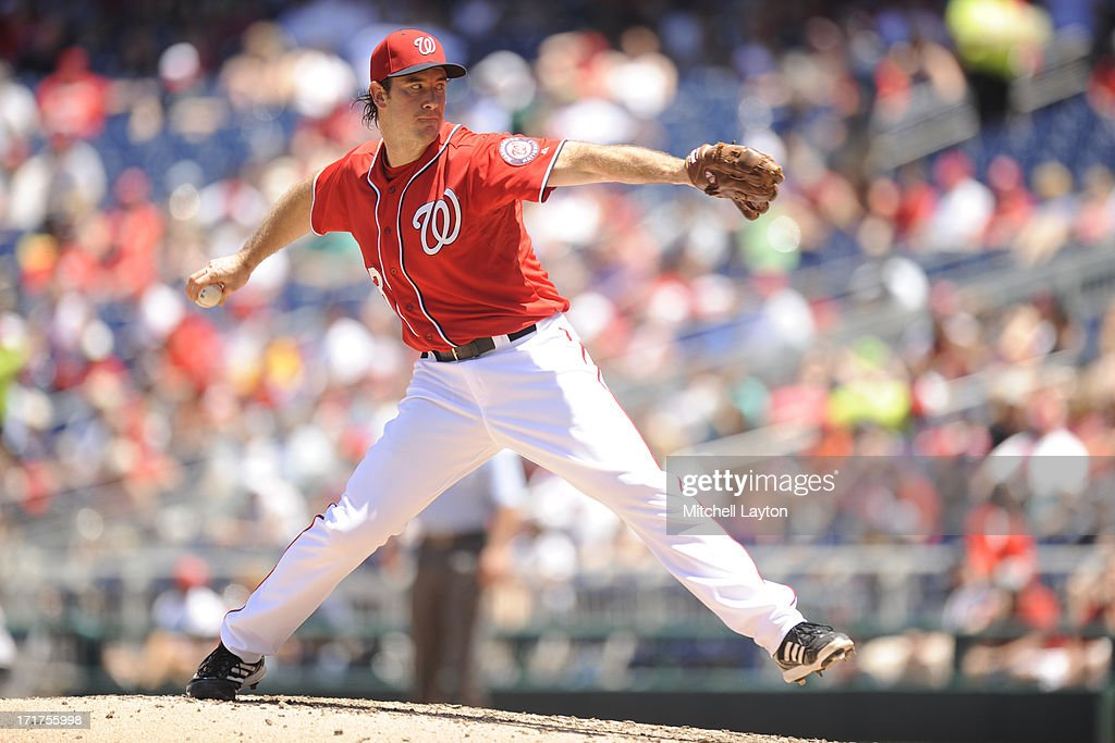 <a gi-track='captionPersonalityLinkClicked' href=/galleries/search?phrase=Ross+Ohlendorf&family=editorial&specificpeople=4172563 ng-click='$event.stopPropagation()'>Ross Ohlendorf</a> #43 of the Washington Nationals pitches during a baseball game against the Colorado Rockies on June 22, 2013 at Nationals Park in Washington, DC. The Rockies won 7-1.
