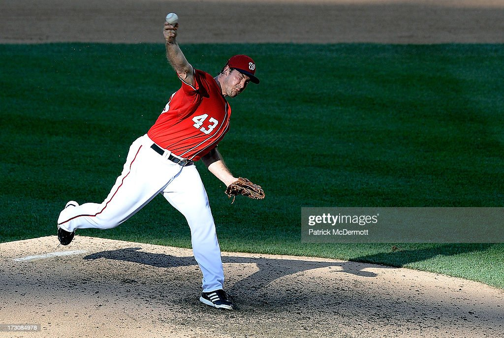 <a gi-track='captionPersonalityLinkClicked' href=/galleries/search?phrase=Ross+Ohlendorf&family=editorial&specificpeople=4172563 ng-click='$event.stopPropagation()'>Ross Ohlendorf</a> #43 of the Washington Nationals throws a pitch during a game against the San Diego Padres at Nationals Park on July 6, 2013 in Washington, DC.