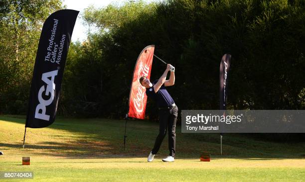 Ross Parker of PGA plays his first shot on the 1st tee during The Lombard Trophy Final Day One on September 21 2017 in Albufeira Portugal