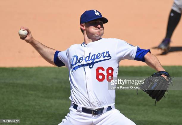 Ross Stripling of the Los Angeles Dodgers during the game against the Colorado Rockies at Dodger Stadium on June 25 2017 in Los Angeles California
