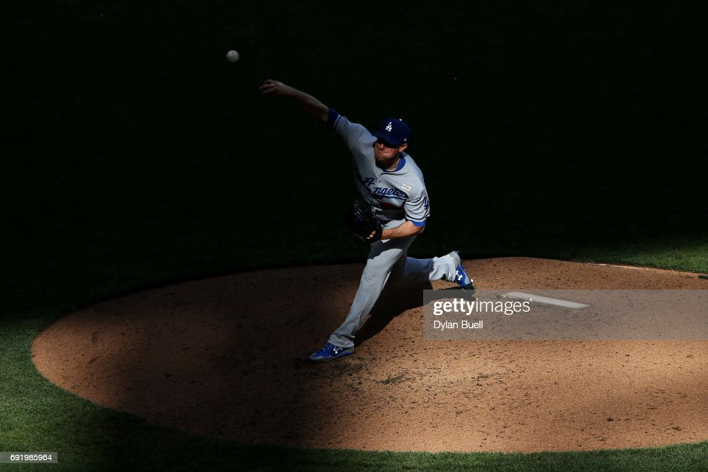 Ross Stripling #68 of the Los Angeles Dodgers pitches in the fifth inning against the Milwaukee Brewers at Miller Park on June 3, 2017 in Milwaukee, Wisconsin.