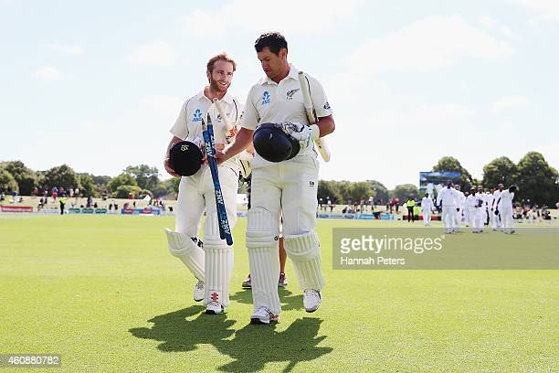 Ross Taylor and Kane Williamson of New Zealand walk off after winning the First Test match between New Zealand and Sri Lanka at Hagley Oval on...