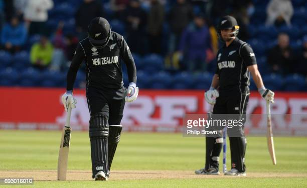 Ross Taylor and Neil Broom of New Zealand during the ICC Champions Trophy match between England and New Zealand at Swalec stadium on June 6 2017 in...