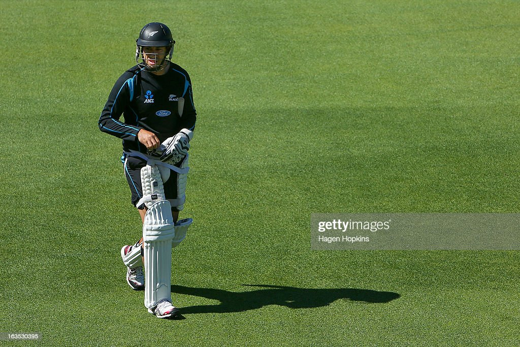 <a gi-track='captionPersonalityLinkClicked' href=/galleries/search?phrase=Ross+Taylor&family=editorial&specificpeople=845922 ng-click='$event.stopPropagation()'>Ross Taylor</a> looks on during a New Zealand training session at Basin Reserve on March 12, 2013 in Wellington, New Zealand.