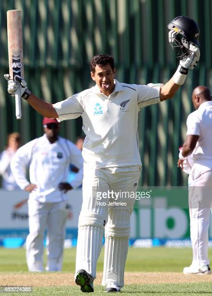 Ross Taylor of New Zealand acknowledges the crowd after scoring a century during day one of the first test match between New Zealand and the West...