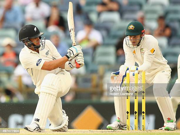 Ross Taylor of New Zealand bats during day five of the second Test match between Australia and New Zealand at the WACA on November 17 2015 in Perth...