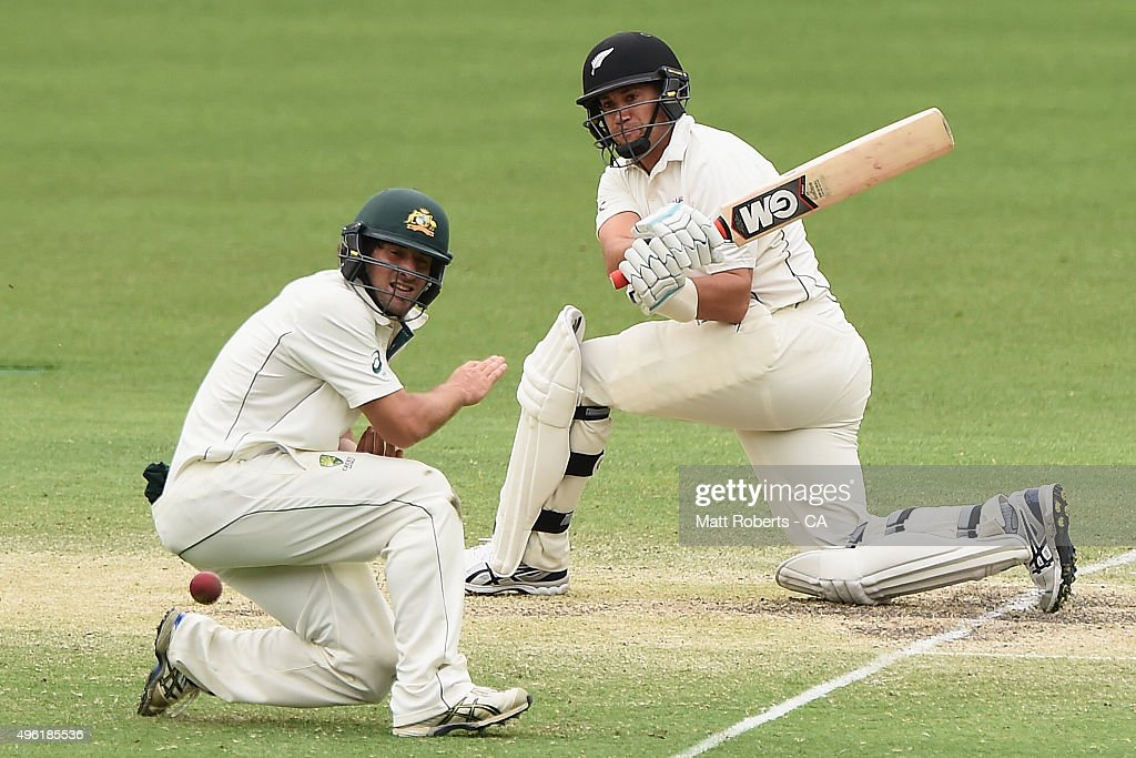 <a gi-track='captionPersonalityLinkClicked' href=/galleries/search?phrase=Ross+Taylor&family=editorial&specificpeople=845922 ng-click='$event.stopPropagation()'>Ross Taylor</a> of New Zealand bats during day four of the First Test match between Australia and New Zealand at The Gabba on November 8, 2015 in Brisbane, Australia.