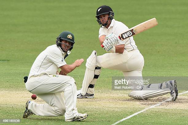 Ross Taylor of New Zealand bats during day four of the First Test match between Australia and New Zealand at The Gabba on November 8 2015 in Brisbane...