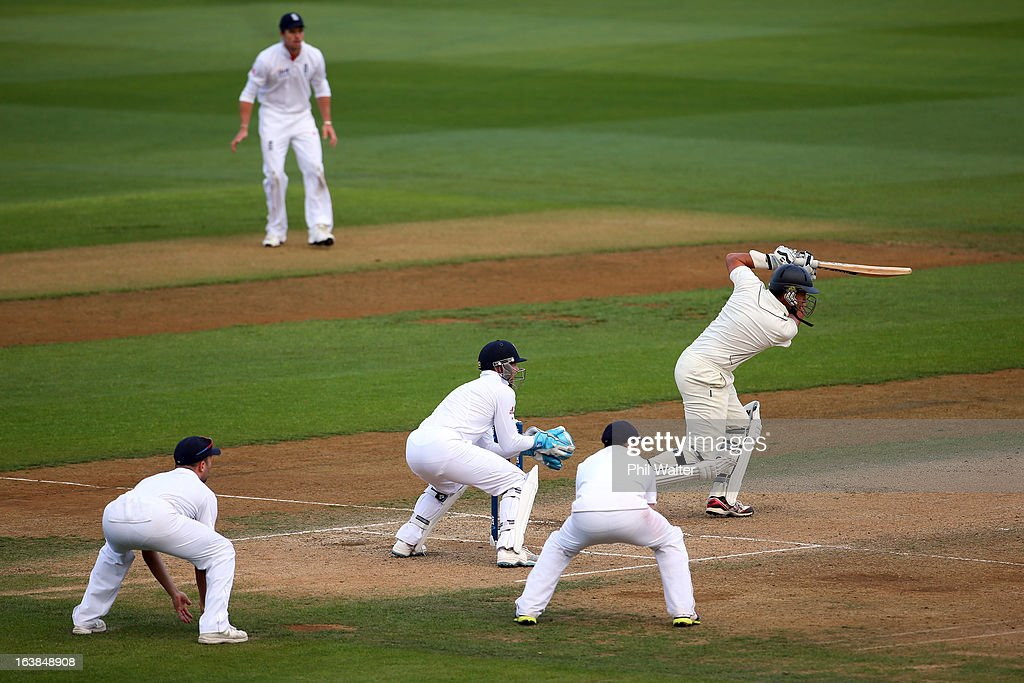 <a gi-track='captionPersonalityLinkClicked' href=/galleries/search?phrase=Ross+Taylor&family=editorial&specificpeople=845922 ng-click='$event.stopPropagation()'>Ross Taylor</a> of New Zealand bats during day four of the second Test match between New Zealand and England at Basin Reserve on March 17, 2013 in Wellington, New Zealand.