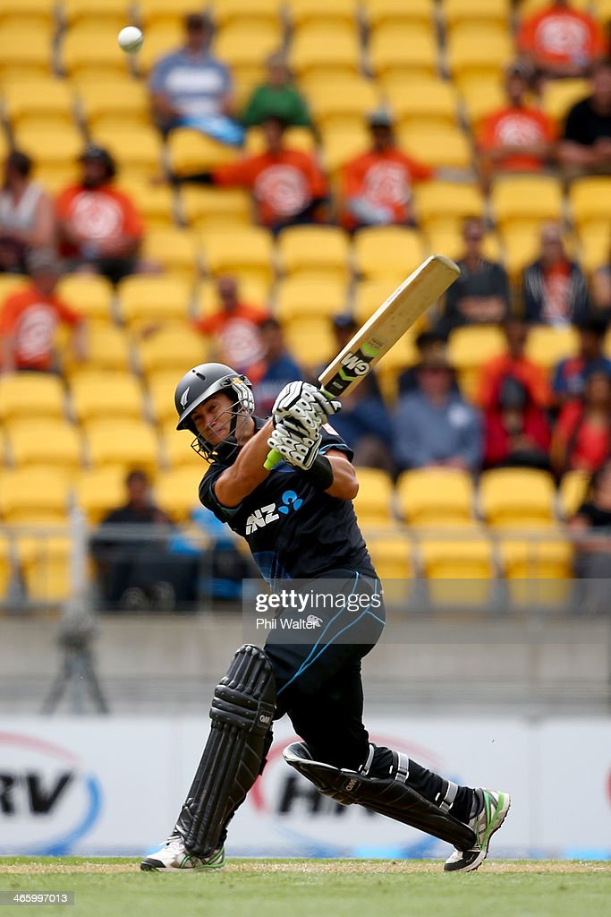 <a gi-track='captionPersonalityLinkClicked' href=/galleries/search?phrase=Ross+Taylor&family=editorial&specificpeople=845922 ng-click='$event.stopPropagation()'>Ross Taylor</a> of New Zealand bats during Game 5 of the men's one day international between New Zealand and India at Westpac Stadium on January 31, 2014 in Wellington, New Zealand.