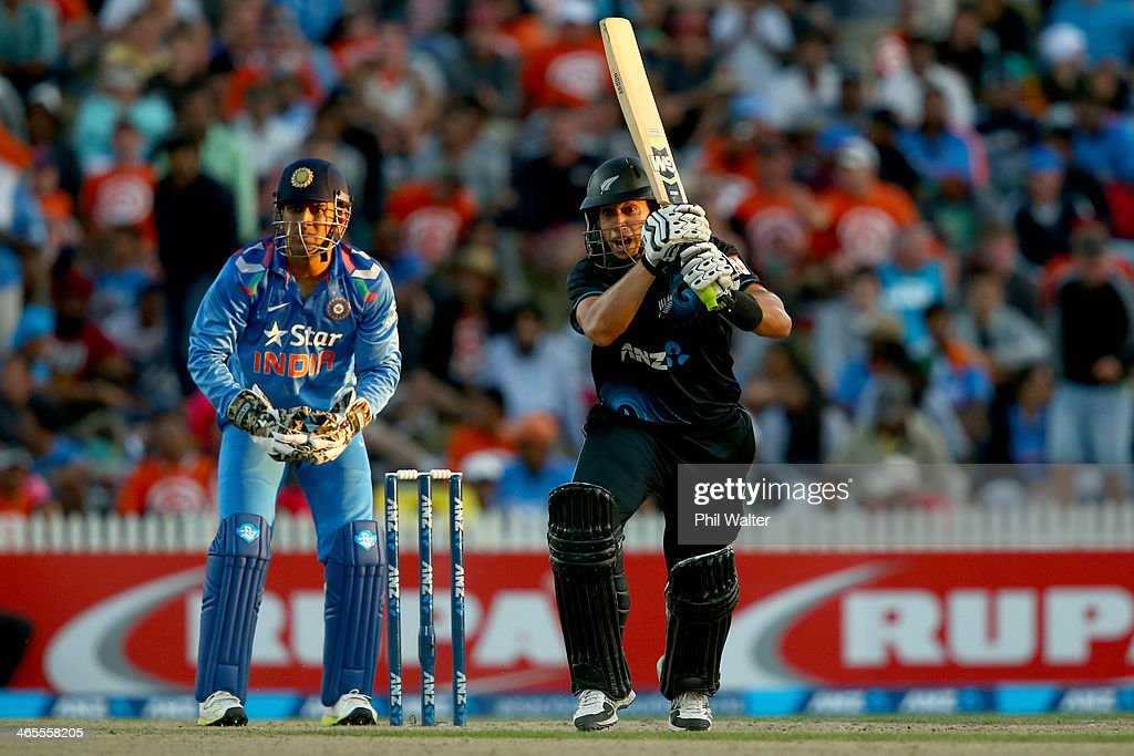 <a gi-track='captionPersonalityLinkClicked' href=/galleries/search?phrase=Ross+Taylor&family=editorial&specificpeople=845922 ng-click='$event.stopPropagation()'>Ross Taylor</a> of New Zealand bats during game four of the men's one day international series between New Zealand and India at Seddon Park on January 28, 2014 in Hamilton, New Zealand.