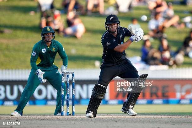 Ross Taylor of New Zealand bats during game four of the One Day International series between New Zealand and South Africa at on March 1 2017 in...