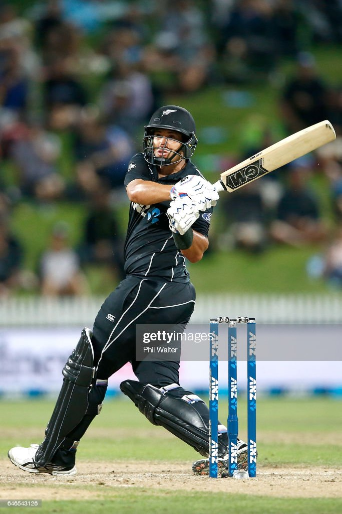 Ross Taylor of New Zealand bats during game four of the One Day International series between New Zealand and South Africa at on March 1, 2017 in Hamilton, New Zealand.