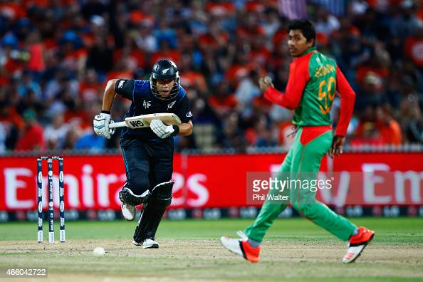 Ross Taylor of New Zealand bats during the 2015 ICC Cricket World Cup match between Bangladesh and New Zealand at Seddon Park on March 13 2015 in...