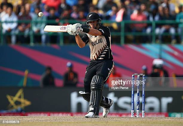 Ross Taylor of New Zealand bats during the ICC World Twenty20 India 2016 Super 10s Group 2 match between Australia and New Zealand at HPCA Stadium on...