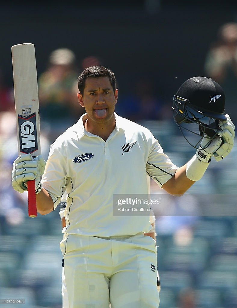 Ross Taylor of New Zealand celebrates after reaching his century during day three of the second Test match between Australia and New Zealand at the WACA on November 15, 2015 in Perth, Australia.