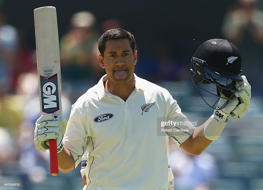 <a gi-track='captionPersonalityLinkClicked' href=/galleries/search?phrase=Ross+Taylor&family=editorial&specificpeople=845922 ng-click='$event.stopPropagation()'>Ross Taylor</a> of New Zealand celebrates after reaching his century during day three of the second Test match between Australia and New Zealand at the WACA on November 15, 2015 in Perth, Australia.
