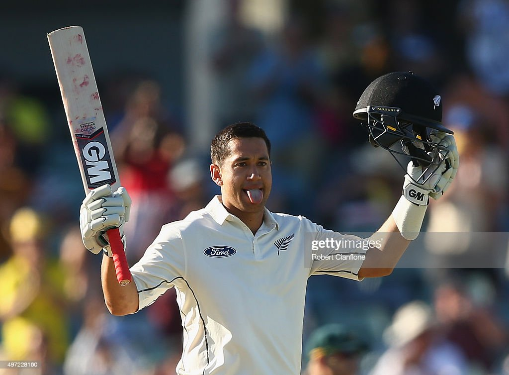 Ross Taylor of New Zealand celebrates after reaching his double century during day three of the second Test match between Australia and New Zealand at the WACA on November 15, 2015 in Perth, Australia.