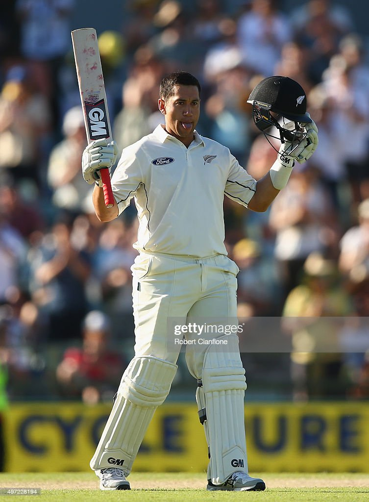 <a gi-track='captionPersonalityLinkClicked' href=/galleries/search?phrase=Ross+Taylor&family=editorial&specificpeople=845922 ng-click='$event.stopPropagation()'>Ross Taylor</a> of New Zealand celebrates after reaching his double century during day three of the second Test match between Australia and New Zealand at the WACA on November 15, 2015 in Perth, Australia.