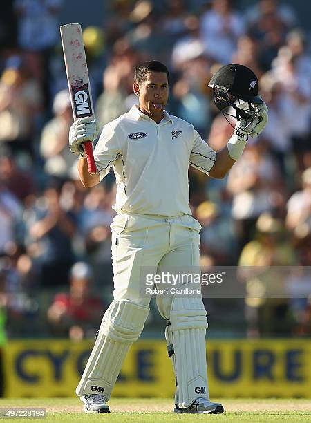 Ross Taylor of New Zealand celebrates after reaching his double century during day three of the second Test match between Australia and New Zealand...