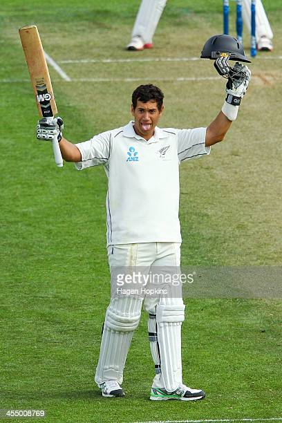 Ross Taylor of New Zealand celebrates his century during day one of the Second Test match between New Zealand and the West Indies at Basin Reserve on...