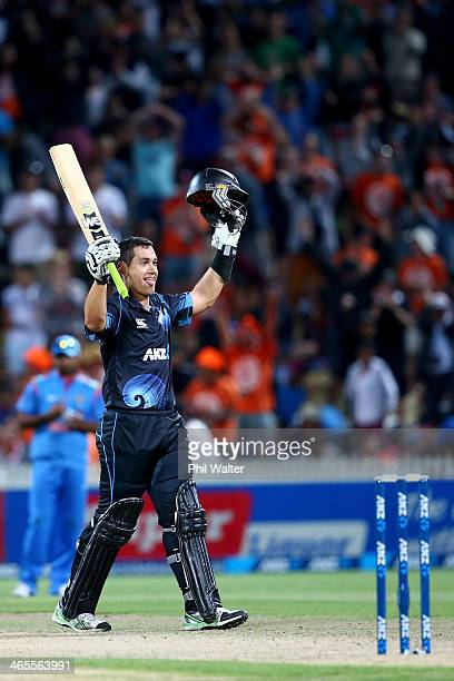 Ross Taylor of New Zealand celebrates his century during game four of the men's one day international series between New Zealand and India at Seddon...