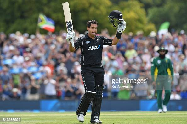 Ross Taylor of New Zealand celebrates his century during game two of the One Day International series between New Zealand and South Africa at Hagley...