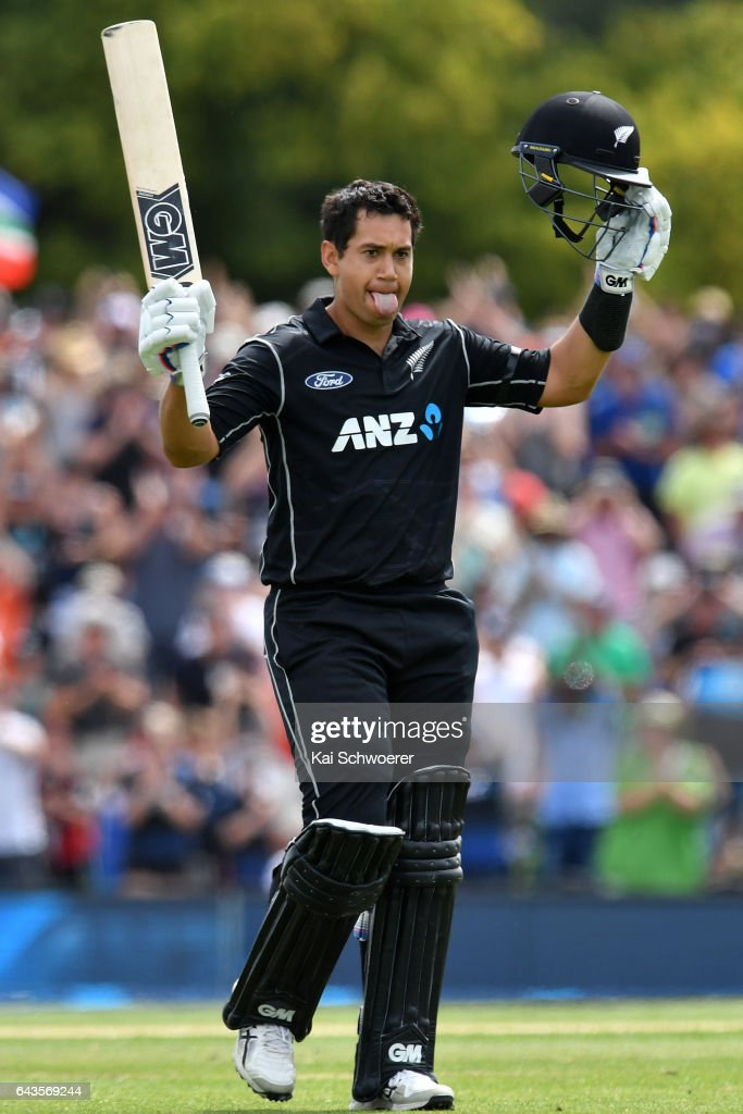 Ross Taylor of New Zealand celebrates his century during game two of the One Day International series between New Zealand and South Africa at Hagley Oval on February 22, 2017 in Christchurch, New Zealand.