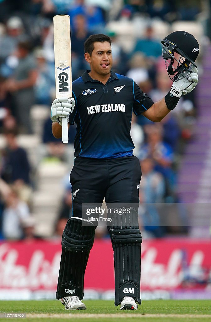 <a gi-track='captionPersonalityLinkClicked' href=/galleries/search?phrase=Ross+Taylor&family=editorial&specificpeople=845922 ng-click='$event.stopPropagation()'>Ross Taylor</a> of New Zealand celebrates his century during the 3rd ODI Royal London One-Day Series 2015 at the Ageas Bowl on June 14, 2015 in Southampton, England.
