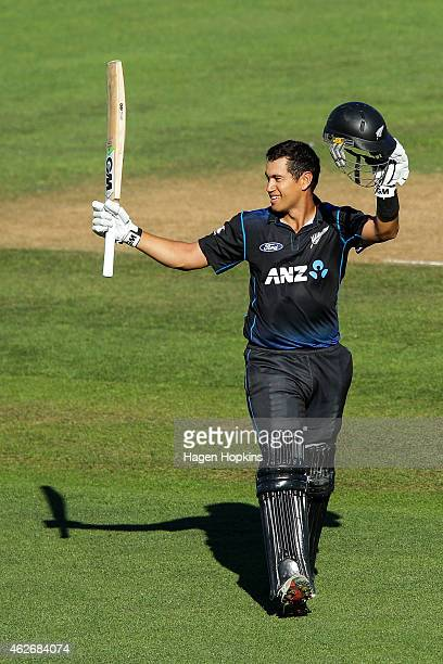 Ross Taylor of New Zealand celebrates his century during the One Day International match between New Zealand and Pakistan at McLean Park on February...