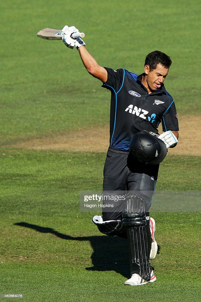 Ross Taylor of New Zealand celebrates his century during the One Day International match between New Zealand and Pakistan at McLean Park on February 3, 2015 in Napier, New Zealand.