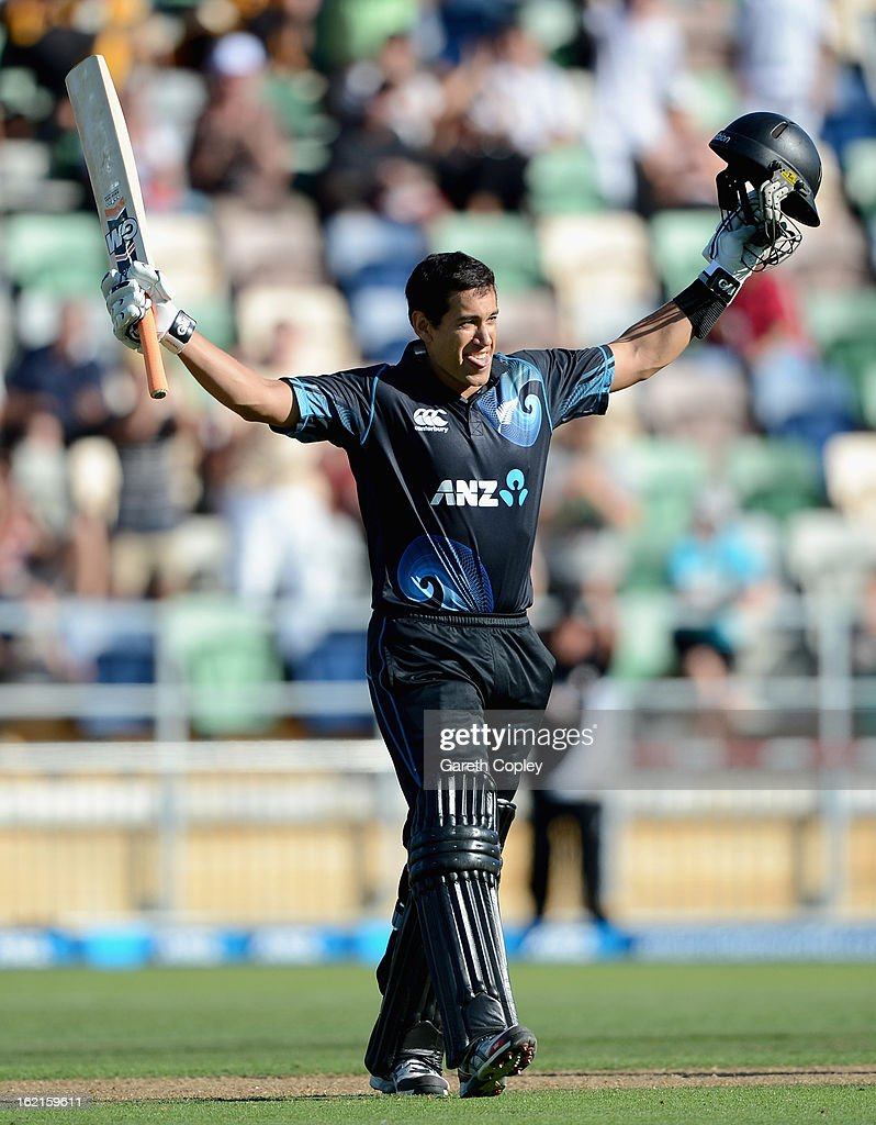 <a gi-track='captionPersonalityLinkClicked' href=/galleries/search?phrase=Ross+Taylor&family=editorial&specificpeople=845922 ng-click='$event.stopPropagation()'>Ross Taylor</a> of New Zealand celebrates reaching his century during the second match of the international Twenty20 series between New Zealand and England at McLean Park on February 20, 2013 in Napier, New Zealand.