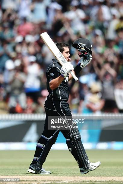 Ross Taylor of New Zealand celebrates scoring a century during game three of the One Day International series between New Zealand and Australia at...