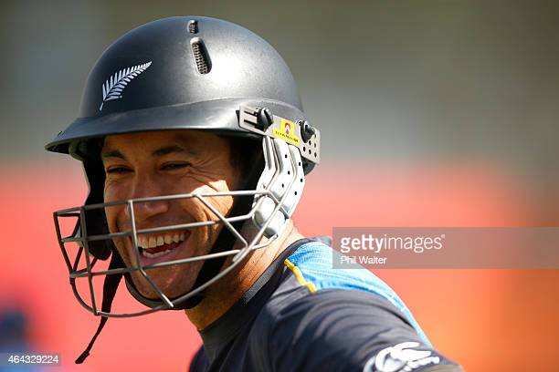 Ross Taylor of New Zealand during a New Zealand Black Caps training session at Eden Park on February 25 2015 in Auckland New Zealand