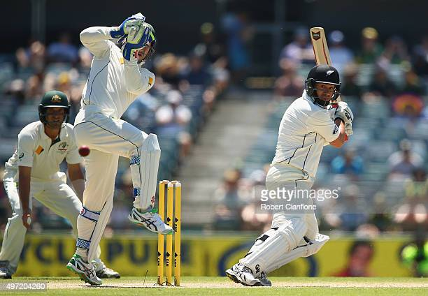 Ross Taylor of New Zealand hits a boundary to bring up his century during day three of the second Test match between Australia and New Zealand at the...