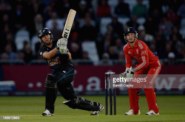 Ross Taylor of New Zealand hits out during 3rd NatWest Series ODI match between England and New Zealand at Trent Bridge on June 5 2013 in Nottingham...