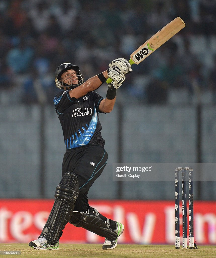 <a gi-track='captionPersonalityLinkClicked' href=/galleries/search?phrase=Ross+Taylor&family=editorial&specificpeople=845922 ng-click='$event.stopPropagation()'>Ross Taylor</a> of New Zealand hits out for six runs during the ICC World Twenty20 Bangladesh 2014 Group 1 match between New Zealand and South Africa at Zahur Ahmed Chowdhury Stadium on March 24, 2014 in Chittagong, Bangladesh.