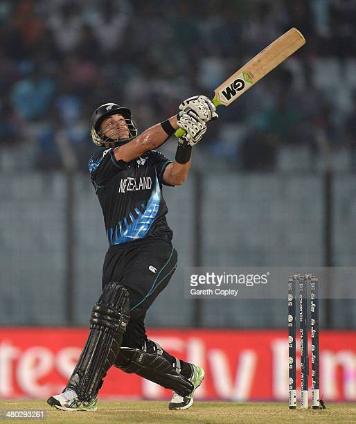 Ross Taylor of New Zealand hits out for six runs during the ICC World Twenty20 Bangladesh 2014 Group 1 match between New Zealand and South Africa at...