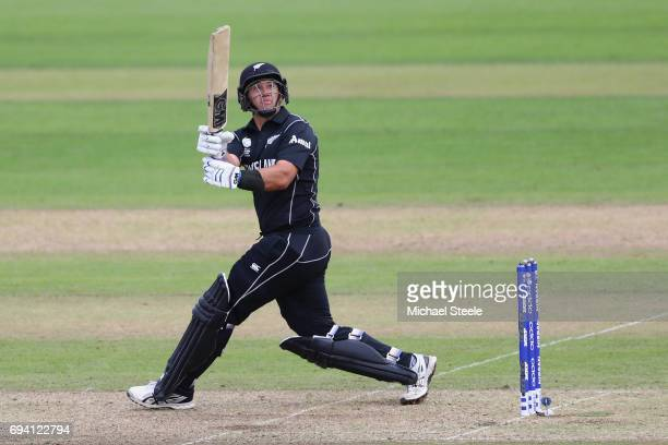 Ross Taylor of New Zealand hits to the legside only to be caught by Mustafizur Rahman for 63 runs off the bowling of Taskin Ahmed during the ICC...
