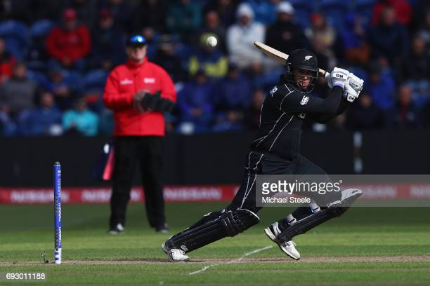 Ross Taylor of New Zealand hits to the offside during the ICC Champions Trophy match between England and New Zealand at the SWALEC Stadium on June 6...