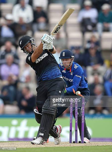 Ross Taylor of New Zealand is bowled by David Willey of England with Jos Buttler of England looking on during the 3rd ODI Royal London OneDay Series...
