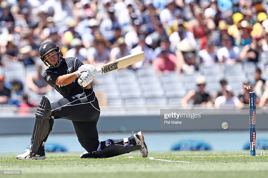 Ross Taylor of New Zealand is bowled by Travis Head of Australia during the first One Day International game between New Zealand and Australia at Eden Park on January 30, 2017 in Auckland, New Zealand.